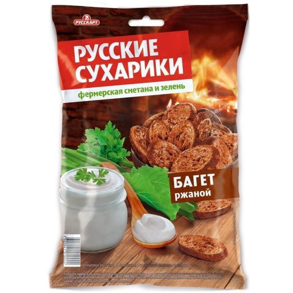 Сухари Русские сухарики ржаные фермерская сметана-зелень