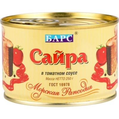 Сайра 'Барс' тихоокеанская в томатном соусе