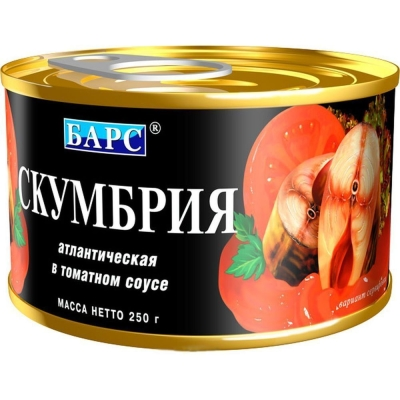 Скумбрия 'Барс' атлантическая в томатном соусе