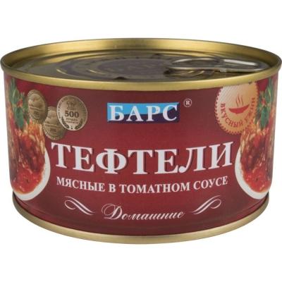 Тефтели мясные Барс Домашние в томатном соусе ж/б