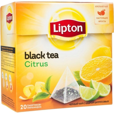 Чай Липтон Citrus с цедрой цитрусовых 20 пир.