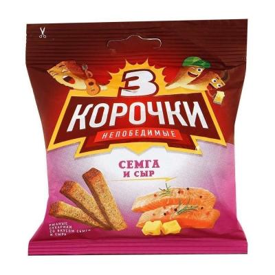 Сухарики 'Три Корочки' ржаные сыр и семга