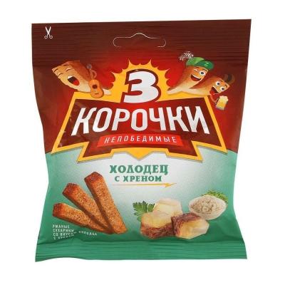 Сухарики 'Три Корочки' ржаные холодец и хрен + соус горчица