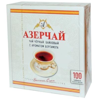 Чай Азерчай черный с ароматом Бергамота  100 пак.