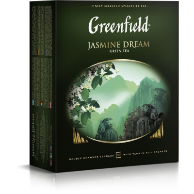 Чай Гринфилд Жасмин Дрим зеленый 100 пак.