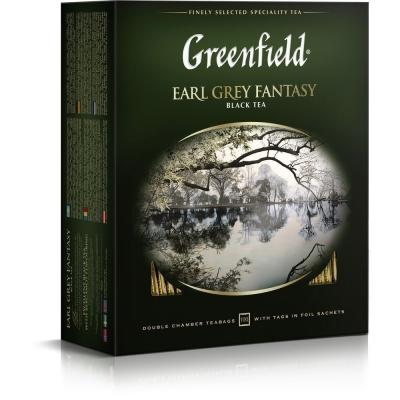 Чай Гринфилд Эрл Грей Фэнтази бергамот 100 пак.