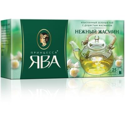 Чай Принцесса Ява зеленый Нежный Жасмин 25 пак. с/яр.