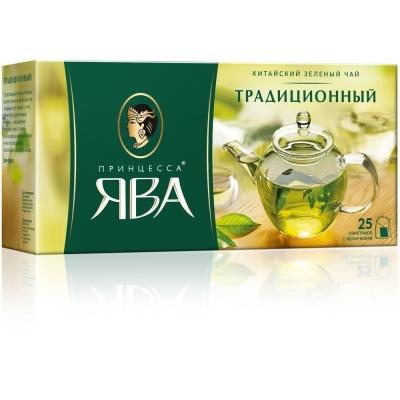 Чай Принцесса Ява Традиционный  зеленый  25 пак. с/яр.