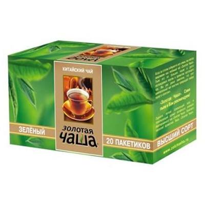 Чай Золотая чаша Зеленый 20 пак. с яр.