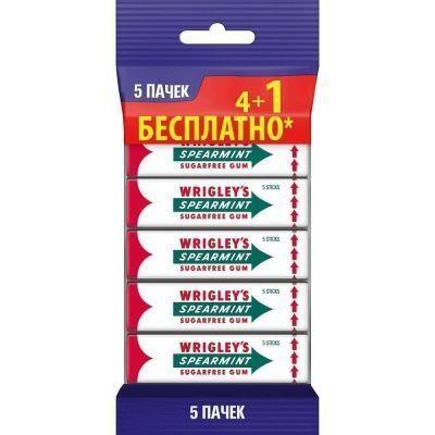 Жевательная резинка Wrigley's Spearmint пластинки 5-пачечный мультипак