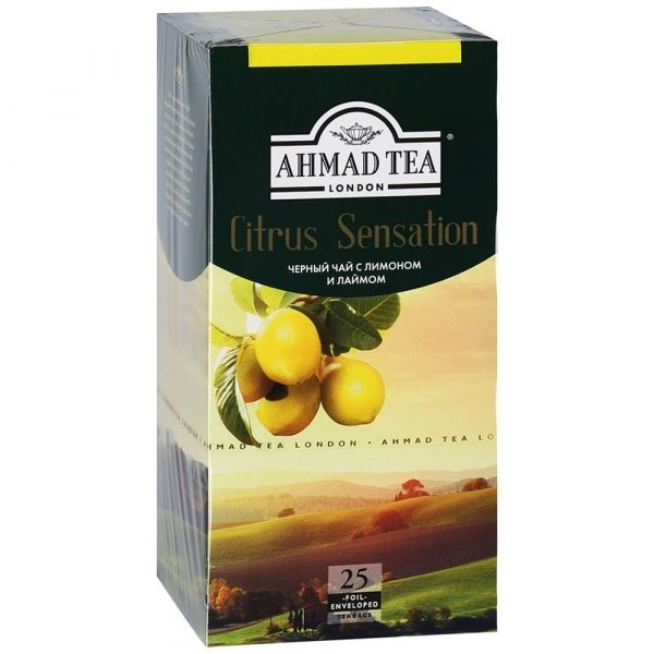 Чай Ahmad Tea с ароматом лимона и лайма Цитрус Сенсейшн 25 пак с/я в к/фольги