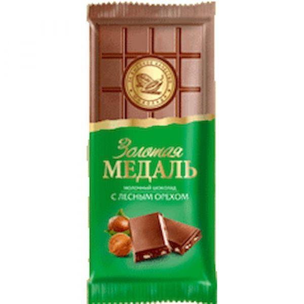 Шоколад Волшебница Золотая Медаль Молочный с Лесным Орехом флоупак