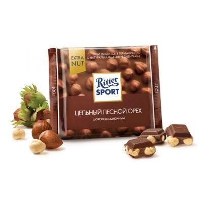 Шоколад Риттер Спорт EXTRA NUT Молочный с цельным лесным орехом