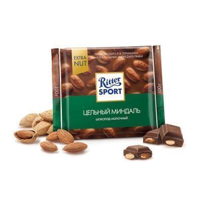 Шоколад Риттер Спорт EXTRA NUT Молочный с цельным миндалем