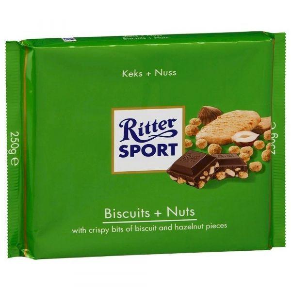 Шоколад Риттер Спорт Молочный с Хрустящим Печеньем и Орехом