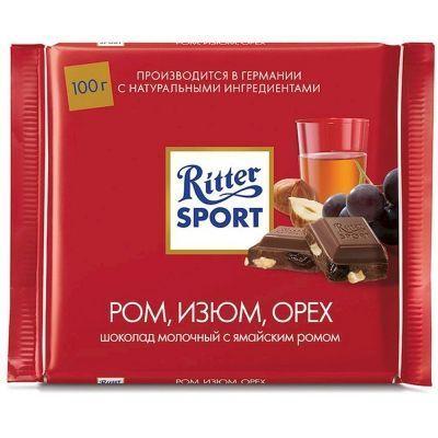Шоколад Риттер Спорт Молочный с ямайским ромом, изюмом и орехом лещины