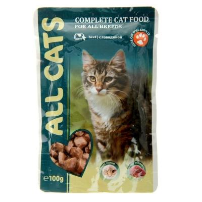 Корм для кошек ALL CATS Говядина соус пауч