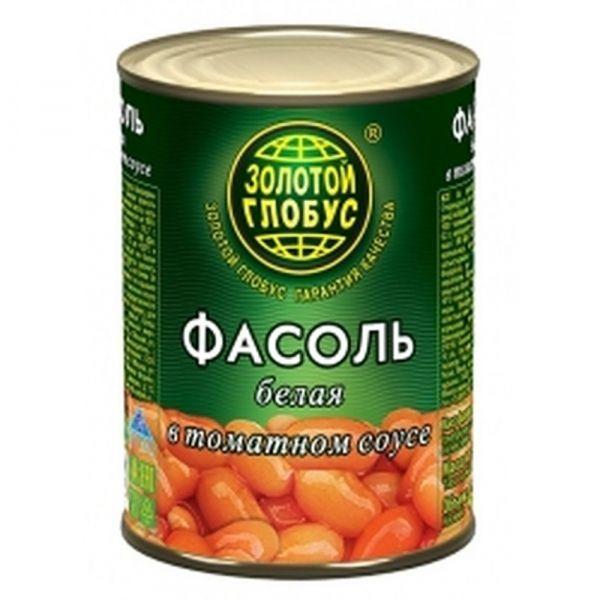 Фасоль белая Золото глобуса в томатном соусе