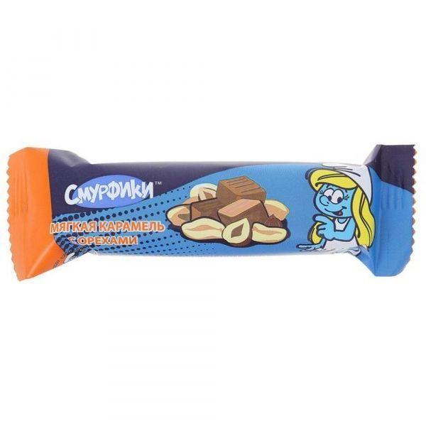 Конфета-батончик глазированная Смурфики Мягкая Карамель с орехами