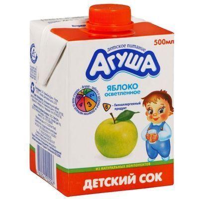 Сок Агуша Яблоко осветленный 0% с 3 лет