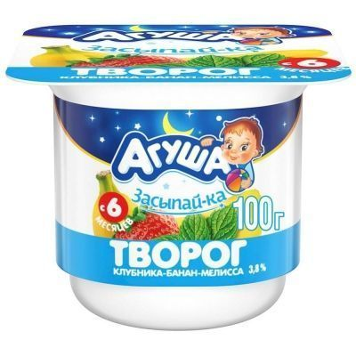 Творог Агуша Засыпайка Клубника, Банан, Мелисса 3,8% ванна