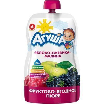 Пюре фруктовое 'Агуша' Я САМ яблоко ежевика малина дой-пак