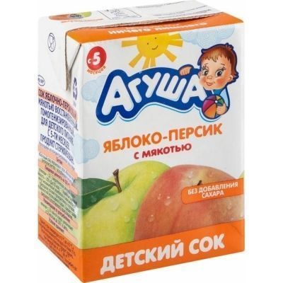 Сок Агуша яблоко-персик с мякотью ТБА с 5 месяцев