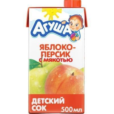Сок Агуша яблоко-персик с мякотью с 3 лет