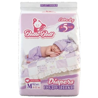 Подгузники Belle-Bell Diapers M 62шт 6-11кг до 5 часов