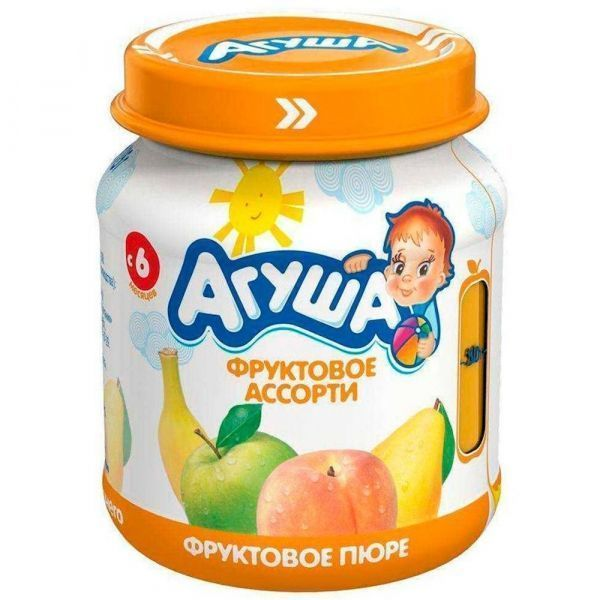 Пюре фруктовое Агуша Яблоко-Груша-Банан-Персик