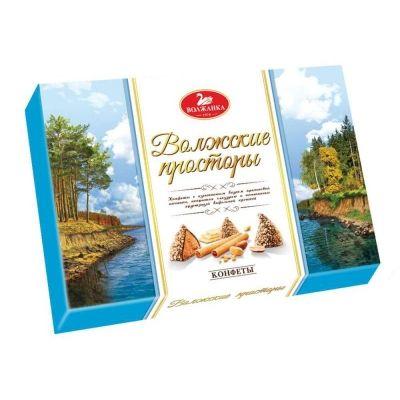 Конфеты в коробке Славянка Волжские просторы в вафельной крошке