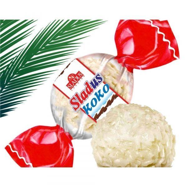 Кукурузно-пшеничные изделия Sladus Koko глазированные покрытые кокосовой стружкой