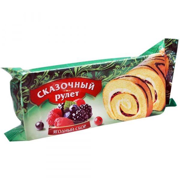 Рулет бисквитный Сказочный с начинкой лесные ягоды декорированный шоколадной глазурью