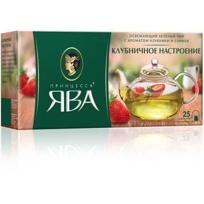 Чай Принцесса Ява Клубничное настроение зеленый 25 пак.