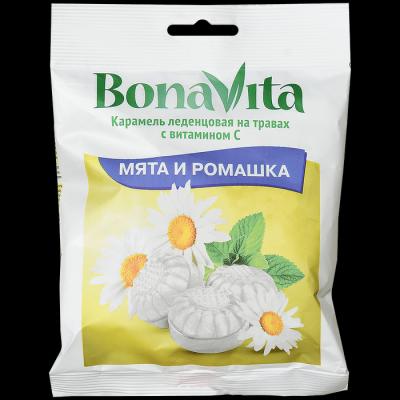 Карамель леденцовая Bona Vita БАД Мята и ромашка с витамином С на травах