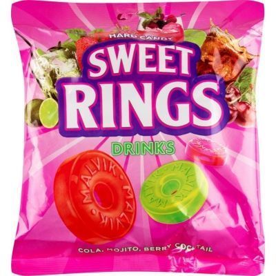 Карамель леденцовая Малвикъ SWEET RINGS DRINKS со вкусом мохито, лесная ягода, кола