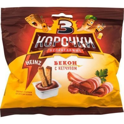 Сухарики Три Корочки ржаные Бекон + кетчуп