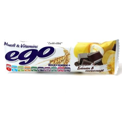 Батончик-мюсли БАД Ego Банан с йодом и витаминами в молочном шоколаде