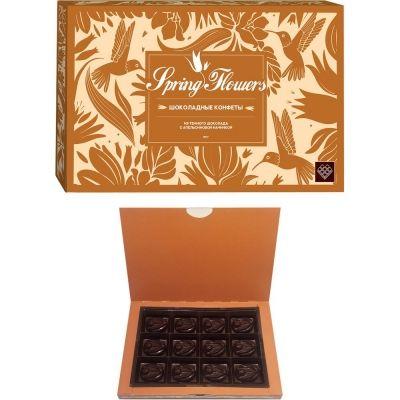 Конфеты шоколадные ручной работы 'Spring Flowers' из темного шоколада с апельсиновой кремовой начинкой и цукатами апельсина