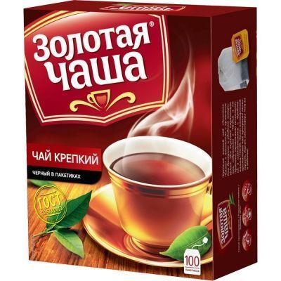 Чай Золотая Чаша Крепкий 100 пак. с ярлыком
