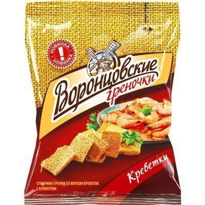 Сухарики-гренки Воронцовские со вкусом Креветок с кунжутом