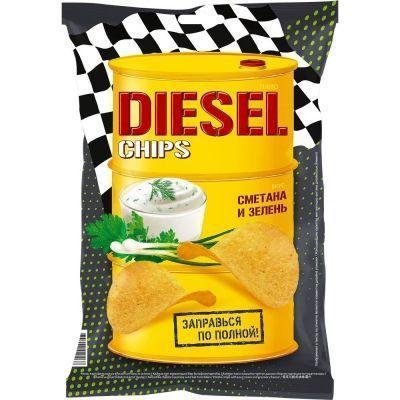 Чипсы картофельные 'Turbo Diesel' со вкусом Сметаны и лука