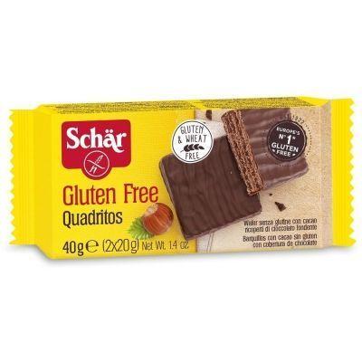 Батончик вафельный Schaer 'Quadritos' в шоколаде