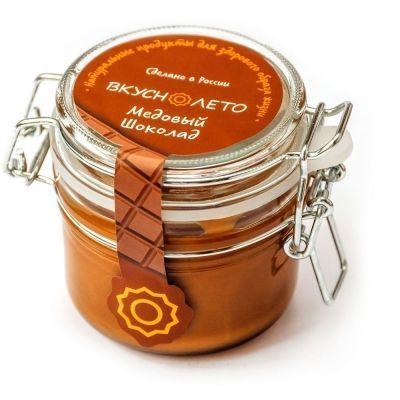Крем-мед Вкуснолето 'Медовый Шоколад' с какао банка бугельная