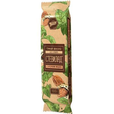 Шоколад темный 'Стевилад с миндалем' без сахара