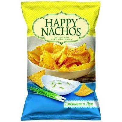 Чипсы кукурузные Happy Nachos со вкусом Сметана и лук