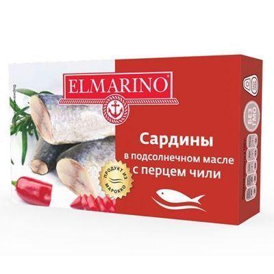 Сардины в подсолнечном масле Elmarino с перцем чили