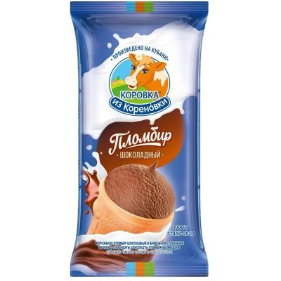 Мороженое Коровка из Кореновки пломбир в вафельном стакане Шоколад