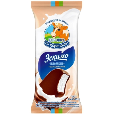 Мороженое Коровка из Кореновки пломбир Эскимо в шоколадной глазури на палочке