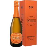 Вино игристое Тинтонелли Просекко Спуманте Экстра Драй белое сухое в подарочной упаковке (TINTONELLI PROSECCO DOC SPUMANTE EXTRA DRY in gift box), 11 %